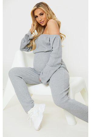 PRETTYLITTLETHING Maternity Grey Bardot Oversized Waffle Jumpsuit