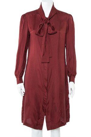 CH Carolina Herrera Burgundy Logo Printed Silk Neck Tie Detail Button Front Shirt Dress L
