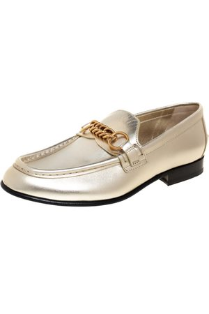 Burberry Metallic Leather Solway Chain Detail Slip On Loafers Size 38.5