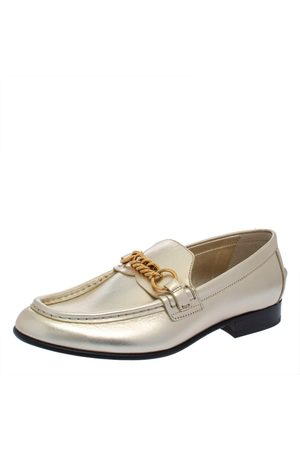 Burberry Metallic Leather Solway Chain Detail Slip On Loafers Size 39.5