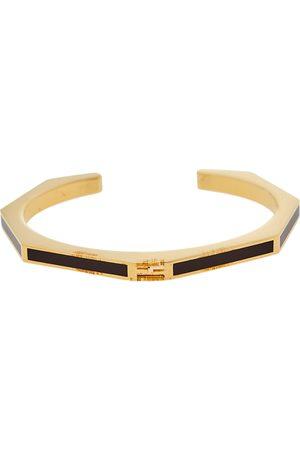 Fendi Dark Enamel Baguette Open Cuff Bracelet S