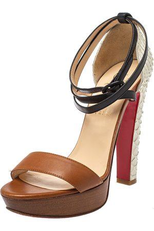 Christian Louboutin Python And Leather Summerissima Platform Sandals Size 38.5