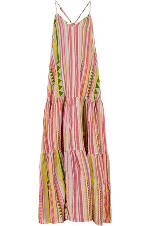 DEVOTION Zakar striped embroidered cotton maxi dress