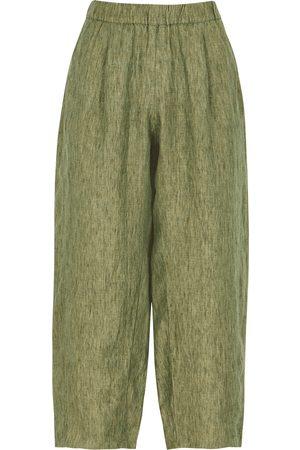 EILEEN FISHER Wide-leg cropped linen trousers