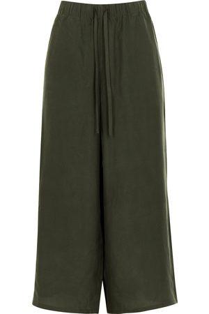 Eileen Fisher Women Wide Leg - Dark wide-leg cropped silk crepe de chine trousers