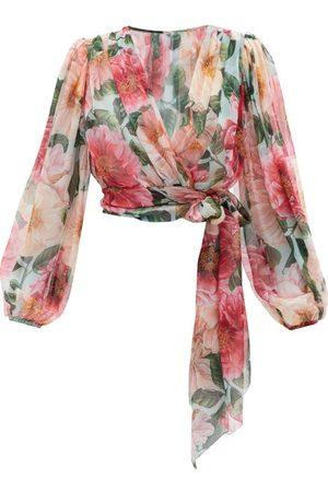 Dolce & Gabbana Women Wrap tops - Camelia Floral-print Silk Wrap Blouse - Womens - Print