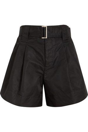 Ganni Women Shorts - Belted taffeta shorts