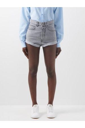 Raey - Rivet Cut-off Denim Shorts - Womens - Light Grey