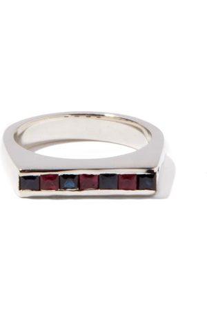 PEARLS BEFORE SWINE Kit Sapphire-ruby & Sterling- Signet Ring - Mens
