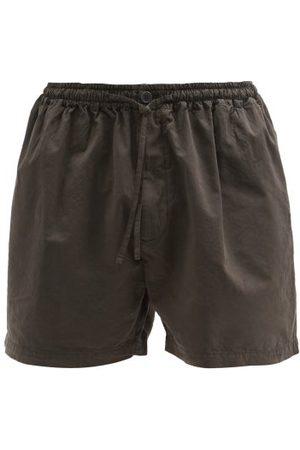 Raey Scrunchy Cotton And Silk-blend Shorts - Mens - Charcoal
