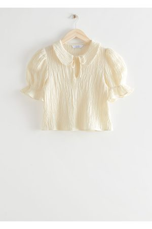 & OTHER STORIES Textured Collared Puff Sleeve Top
