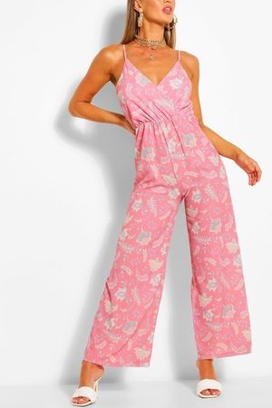 Boohoo Womens Paisley Print Wrap Strappy Jumpsuit - - 4