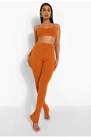 Boohoo Womens Rib Side Split Pants - - 4