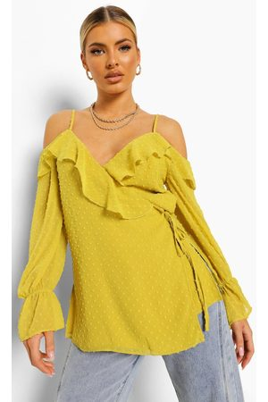 Boohoo Womens Dobby Cold Shoulder Wrap Top - - 2