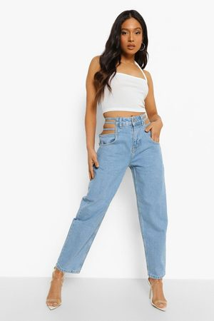 Boohoo Women High Waisted - Womens Petite Strappy High Waist Mom Jean - - 2