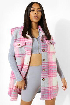 Boohoo Women Rainwear - Womens Flannel Brushed Sleeveless Shacket - - S