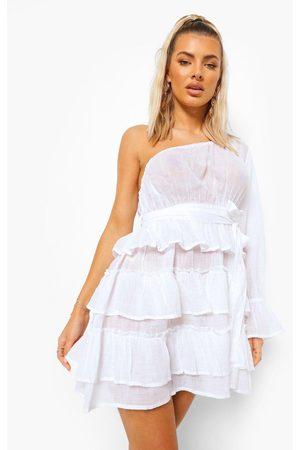 Boohoo Womens Linen Look Asymmetric Beach Dress - - 2