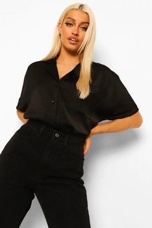 Boohoo Womens Satin Revere Collar Short Sleeve Shirt - - 2