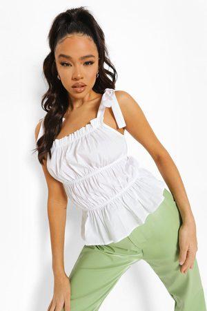 Boohoo Women Camisoles - Womens Cotton Tie Strap Rouched Crop Top - - 2