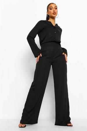 Boohoo Womens Relaxed Fit Matte Satin Wide Leg Pants - - 4