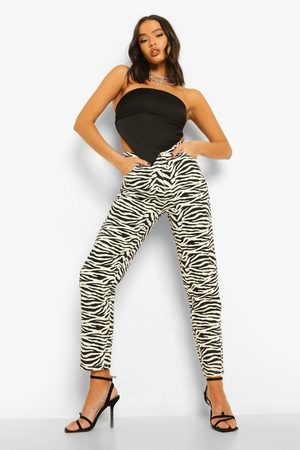 Boohoo Women High Waisted - Womens High Waist Zebra Print Mom Jeans - - 2