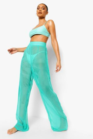 Boohoo Womens Chiffon Wide Leg Beach Pants - - S
