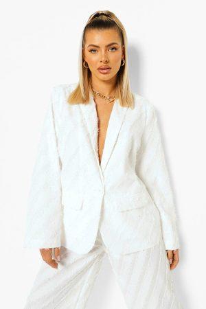 Boohoo Womens Textured Oversized Blazer - - 4