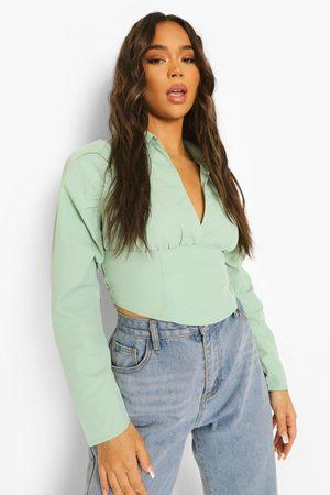 Boohoo Womens Open Back Ruched Sleeve Shirt - - 4