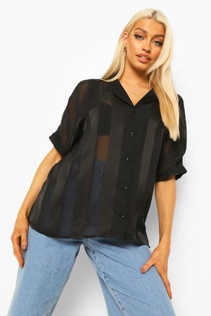 Boohoo Womens Satin Stripe Short Sleeve Shirt - - 2
