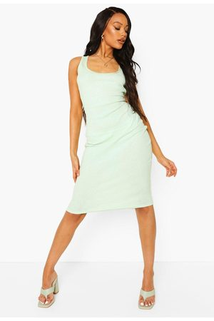 Boohoo Womens Rib Scoop Neck Bodycon Midi Dress - - 4