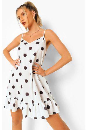 Boohoo Womens Polka Dot Drop Hem Mini Dress - - 4