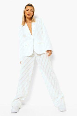Boohoo Womens Textured Wide Leg Pants - - 6
