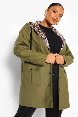 Boohoo Womens Plus Leopard Lined Rain Mac - - 12