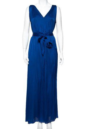 Carolina Herrera CH Royal Satin Pleated Sleeveless Maxi Dress S