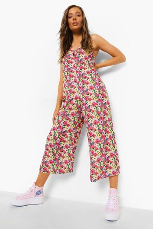 Boohoo Womens Floral Strappy Culotte Jumpsuit - - 4