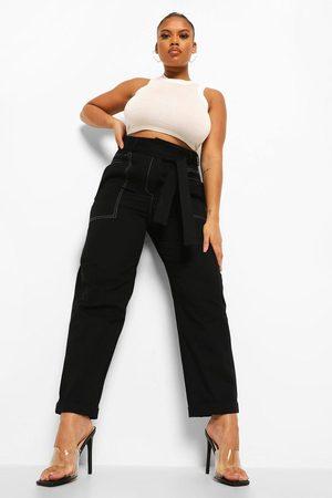 Boohoo Womens Plus Contrast Stitch Tie Cigarette Trouser - - 12