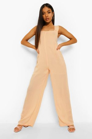 Boohoo Womens Petite Cheesecloth Jumpsuit - - 2