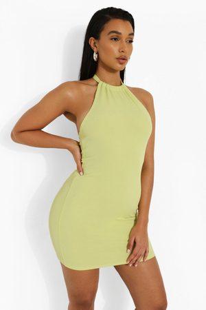 Boohoo Womens Halter Backless Bodycon Rib Dress - - 4