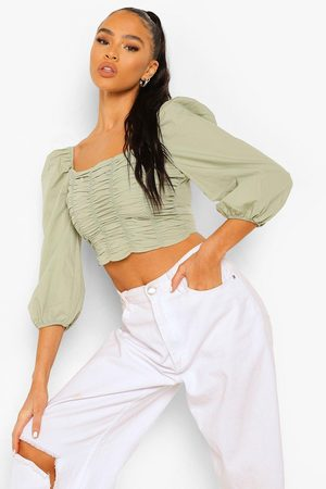 Boohoo Womens Cotton Ruched Front Square Neck Crop Top - - 8