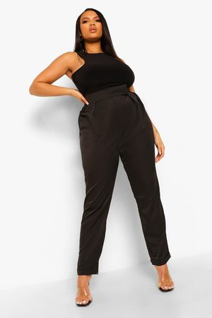 Boohoo Womens Plus Tapered Pleat Detail Cigarette Trouser - - 12