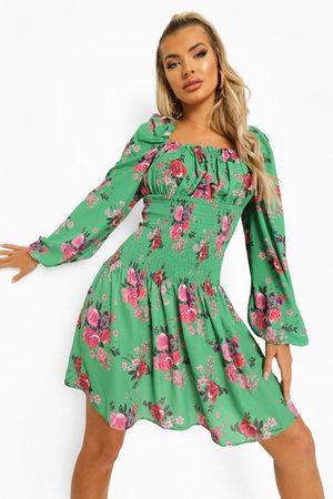 Boohoo Womens Floral Shirred Long Sleeve Skater Dress - - 4