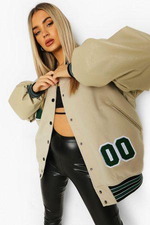 Boohoo Women Bomber Jackets - Womens Pu Sleeve Oversized Varsity Jacket - - 2