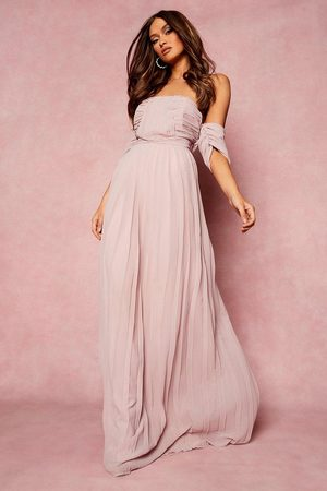 Boohoo Womens Pleated Off The Shoulder Bridesmaid Maxi Dress - - 4