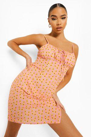 Boohoo Womens Floral Print Tie Front Mini Dress - - 4