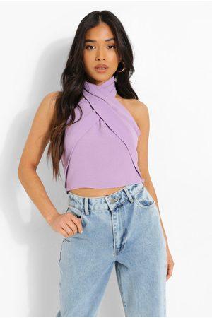 Boohoo Womens Petite Linen Look Cross Front Halter Top - - 2