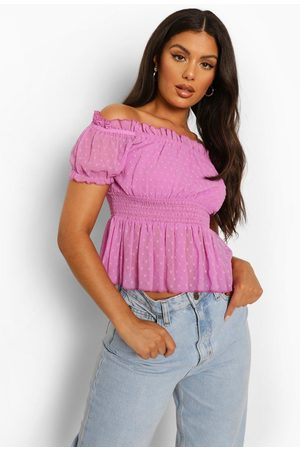 Boohoo Womens Dobby Shirred Off The Shoulder Top - - 2