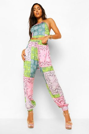 Boohoo Womens Patchwork Paisley Woven Joggers - - 2