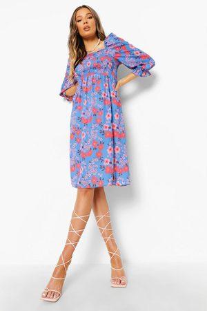 Boohoo Womens Floral Shirred Puff Sleeve Midi Dress - 4