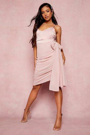 Boohoo Womens Petite Drape Detail Asymmetric Hem Dress - - 2
