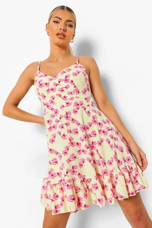 Boohoo Womens Floral Print Tie Back Ruffle Swing Dress - - 4